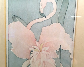 Wild Flamingo and exotic orchid flower mid-century art deco style print in soft pastels matted and framed in  gold metal under glass