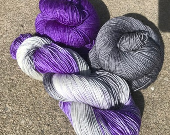 Silk & Superwash Merino Yarn Set, Sock Weight, Purple, Silver, Kettle Dyed, Tonal Yarns