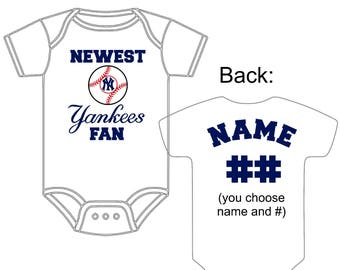 Newest New York Yankees Fan Custom Made and Personalized Baseball Gerber Onesie Jersey You Choose Name Number Great New baby or Shower Gift