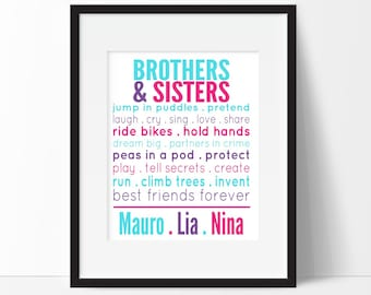 Brothers and Sisters Prints - Sibling Typography - Personalized Name Print - Playroom Wall Art - Sibling Room Decor - Choose Colors, Size