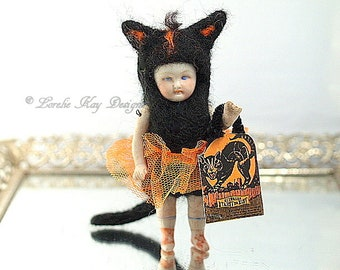 Black Cat Halloween Needle Felted Doll Anthropomorphic Art Doll German Doll Parts Dollhouse Doll Lorelie Kay Original