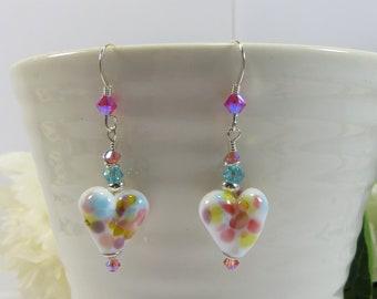 White Purple Blue Pink Heart Earrings, Handmade British Artist Glass Heart Earrings, Lampwork Heart Earrings w Sterling Silver & Swarovski