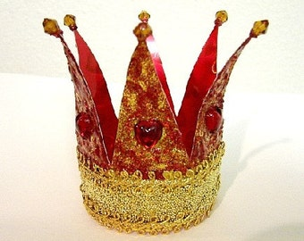 Red Queen Crown and Cake Toppers-(Made by Request) OOAK