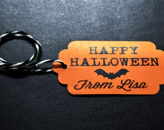 Happy Halloween Party Tags - 12 Halloween Tags - Black and Orange Bat Halloween Trick or Treat Candy Tags