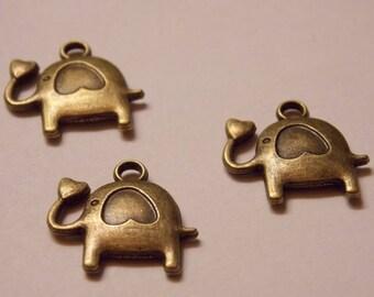 ❤ heart metal elephant charm pendant bronze