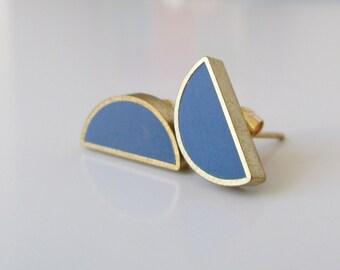 storm gray brass half moon stud earrings