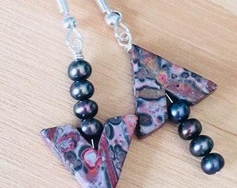 Jasper stone bead arrow earrings, arrow jewelry, mismatched earrings