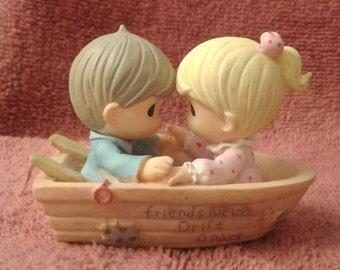 "Vintage Precious Moments Ornament - ""Friends Never Drift Apart"" - Retired 1995 - Missing Mark"