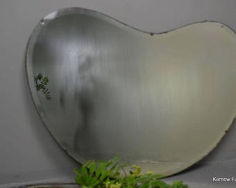 Vintage Frameless Kidney Shape Mirror