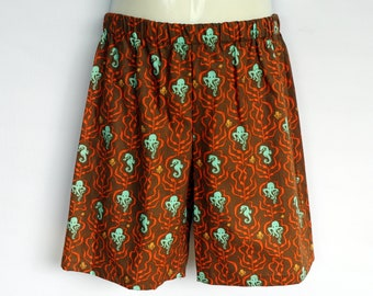 Brown Octopus shorts - kids sizes 0 - 5 avail - ocean, boy, baby, toddler, sea