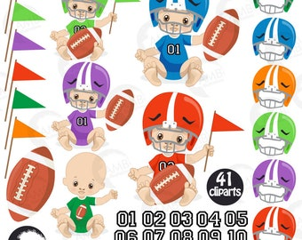 Baby boy clip art, baby boy football player clipart, football baby AMB-2428