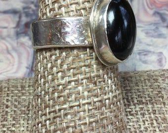 Black Onyx ring 12-10, Gift for Her, Rockhound gift, Artisan ring, Sterling Silver ring