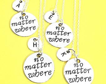Sale,Set of 4 Best Friend Distance Necklaces, Distance Jewelry, Personalized necklace set of 4, Friendship Distance, Keepsake, BFF jewelry f