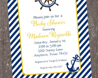 Nautical Baby Shower Invitations - 1.00 each with envelope