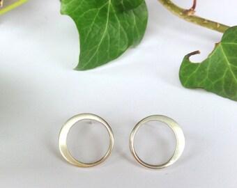 Sterling silver circle stud hoop earrings