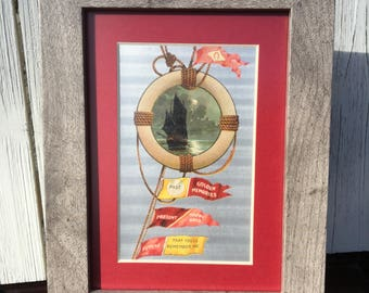 Framed Vintage Sail Boat Postcard, circa 1908.  Nautical, Seaside, Coastal, Sailing.