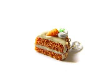 Miniature polymer cake slice Charm - Miniature Food Jewelry - Carrot cake Charm, Polymer Clay Charm