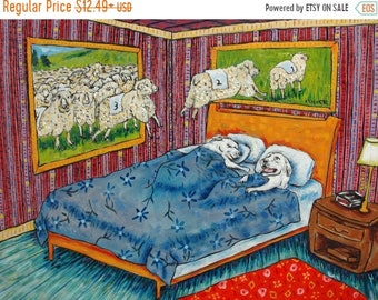 Great Pyrenees Counting Sheep signed art print modern bedroom folk art gift