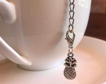 Pineapple tea infuser stainless steel mesh ball with removable silver toned charm