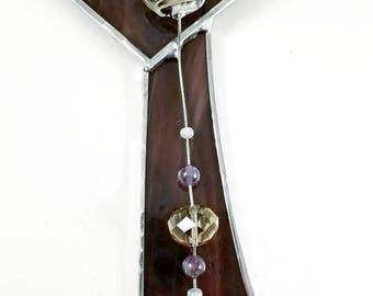 Stained Glass Cross, Plum Purple and Amber, Wall Hanging, Suncatcher
