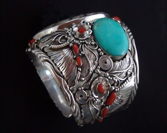 Giant Sterling Silver Goniatite Cuff with Turquoise, Red Coral and Black Coral - Huge Sterling Silver Cuff Bracelet