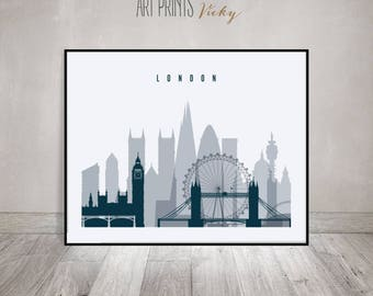 London wall art print, London skyline, travel gift, poster, cityscape art, travel decor, wall decor, ArtPrintsVicky