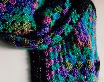 Crocheted Granny Square Scarf