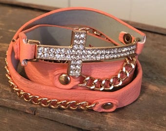 Salmon cross wraparound bracelet