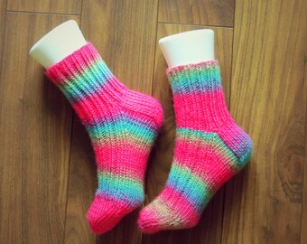 Hand knitted Acrylic Socks for Women. Very bright and fun. Size 8-9.