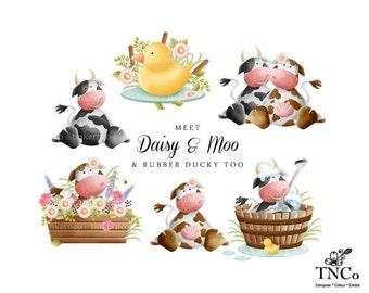 Cow Clip art set - Instant download cow graphics - cute nursery art work - childrens cow illustrations - Invitation clip art - Commercial ok