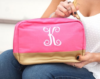Hot Pink Cabana Monogrammed Cosmetic Bag, Personalized Canvas Pouch