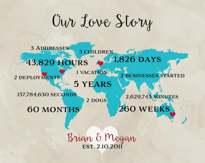 Grandparents Anniversary Gift, Parents Anniversary, Long Distance Relationship, Personalized World Map, Anniversary, Miles, World Travelers