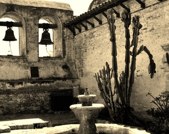 Courtyard at Mission San Juan Capistrano, California - 8x10 Sepia Photo Art Picture
