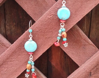 Red coral and blue Turquoise dangle earrings.