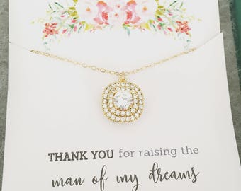 Mother of the Groom Gift, Gold Necklace, Cubic Zirconia Necklace, Mother In Law Gift, Thank you for raising the man of my dreams, Mom Gift