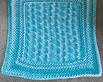 Blue Green & White Baby Afghan