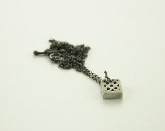 Barcelona tile pendant, barcelona silver pendant, small silver pendant, pendant with miniature, silver tile.