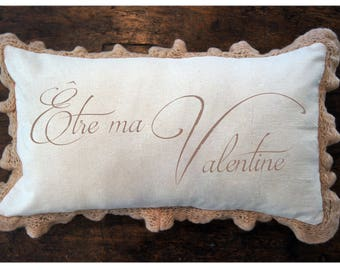 Valentines Day. French Pillow Cover. Shabby Chic Pillow. Farmhouse Pillow Cover. Be My Valentine. French Country. Vintage Valentine.