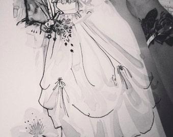 Bespoke Wedding Portrait, custom wedding drawing, wedding gift, handmade