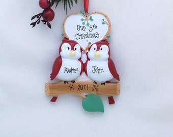 Red Birds Personalized Christmas Ornament / Couple Ornament / Engaged Ornament / First Christmas / Personalized Ornament