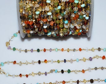 Beautiful Jungle Mix Rosary Beaded Chain-Multi Rosary Beaded Gold Wire Wrapped Chain , 4-5 mm - RB5001