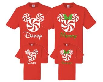 Christmas Family Mickey Minnie Shirts, Christmas, Matching Vacation Shirts, Disney Shirts Vacation, Mickey Head Shirts, Peppermint, winter