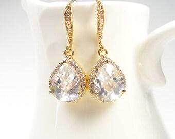 Gold Bridal Earrings, Gold Faceted Crystal Teardrops, Bridesmaid Gifts, Wedding Earrings, Prom Earrings
