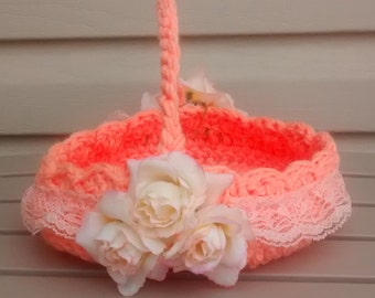 Flower Girl Basket, Crochet Basket, Wedding Basket, Crochet flower Girl Basket, Peach Wedding Basket