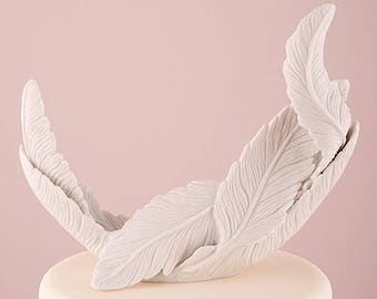 White Porcelain Feather Free Spirit Wedding Cake Topper
