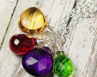 Autumn Necklace, Citrine, Amethyst, Peridot, Ruby Quartz Sterling Silver, Wire Wrap Gemstone Briolettes, Jeweltones