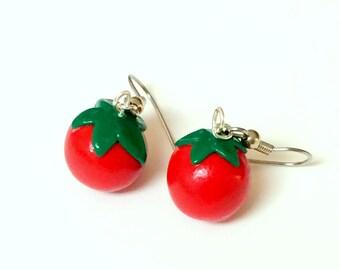 Miniature Tomato Fruit Vegetable Dangle Earrings Tomatoes