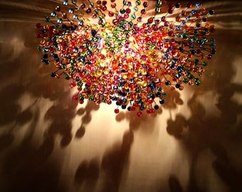Colorful chandelier etsy multi colored bubbles lighting rainbow chandelier bright colorful bead aloadofball Choice Image