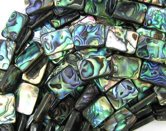 "20mm abalone shell rectangle beads 16"" strand 32099"