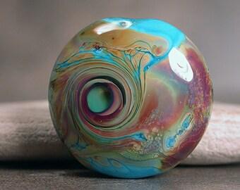 Artisan Glass Lampwork Focal Bead, Lampwork Lentil Spree, Turqoise Blue and Raku Shards, Divine Spark Designs, SRA